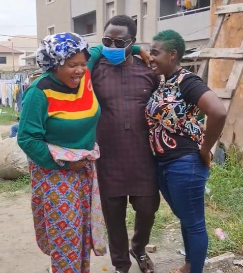 Mercy Johnson's husband surprises wife and Toyin Abraham on movie set (Video)