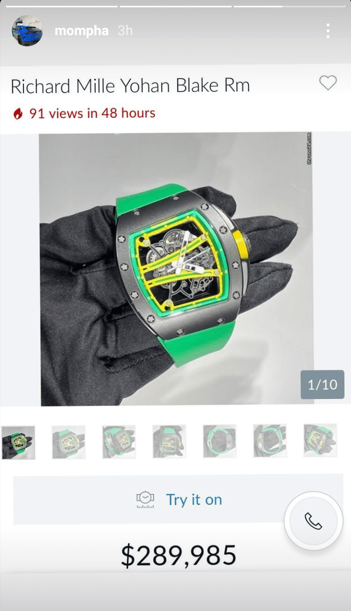 Mompha's Richard Mille wristwatch