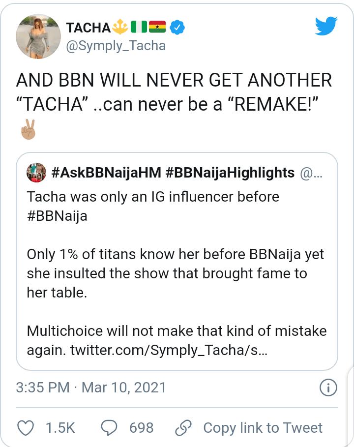Tacha BBN Social Media