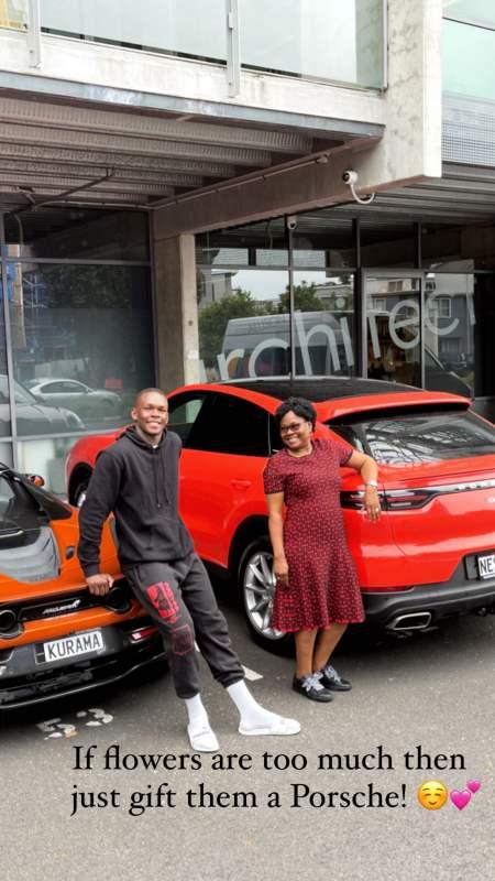 Martial artist, Israel Adesanya surprises mother with brand new Porsche car