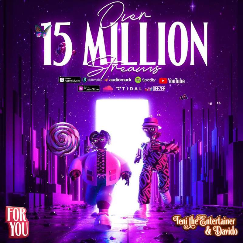 Teni's track 'For You' featuring Davido hits 15M streams, 38M radio reach