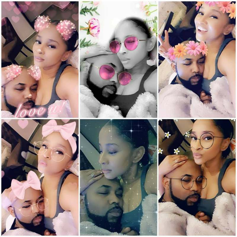Adesua Etomi shares photos of Banky W getting baby-treatment in celebration of his birthday