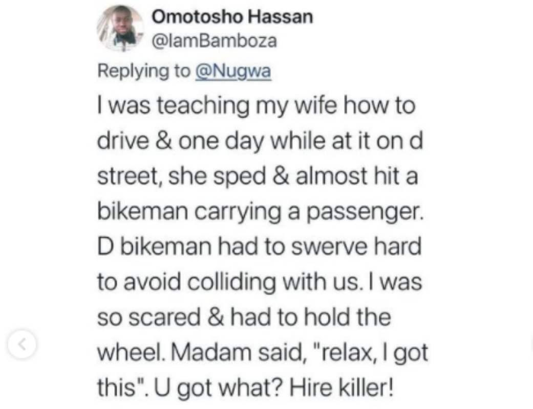 Men share hilarious experiences on teaching their women how to drive