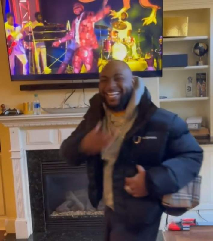 Watch Davido priceless reaction after seeing himself in Coming to America 2 (Video)