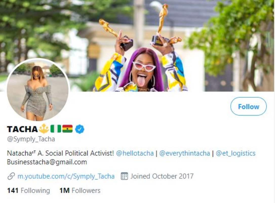tacha 1 million followers twitter