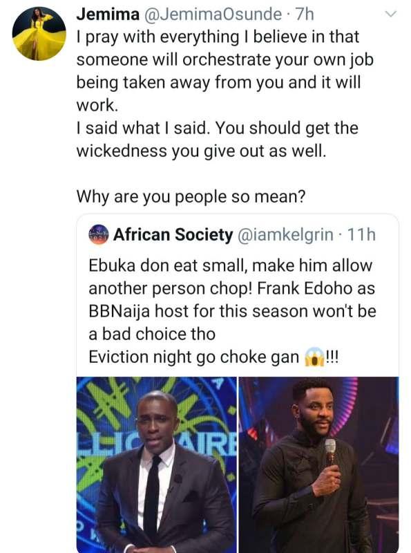 Actress, Jemima Osunde rains curse on fan who wished Ebuka gets replaced as BBNaija host