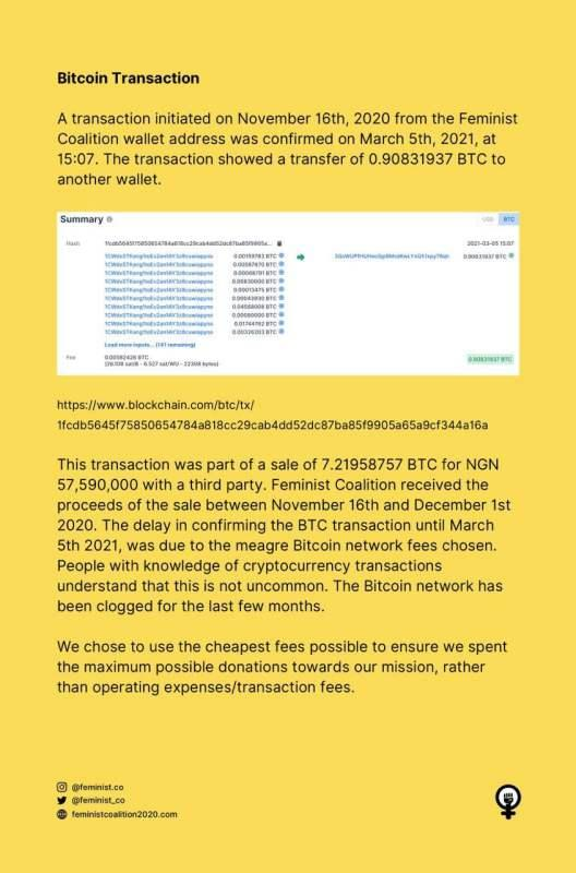 Feminist Coalition reacts to allegations of moving N27M Bitcoin from #EndSARS account