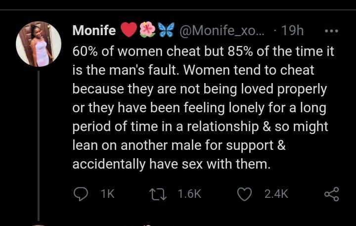 women cheat men fault