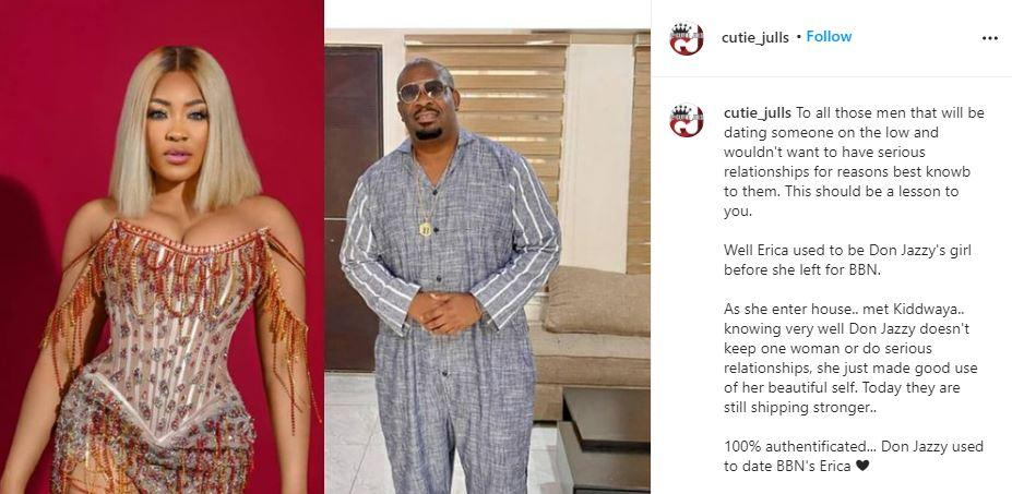 """Erica dated Don Jazzy before BBNaija"" - Blogger drops shocking details"