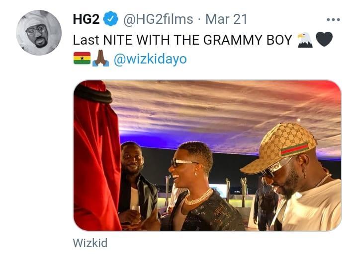 Wizkid follow Hg2 filmmaker