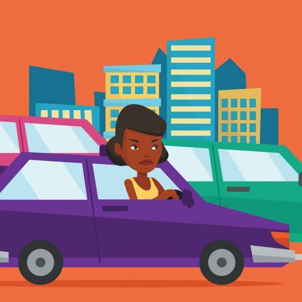 teaching a woman to drive a car