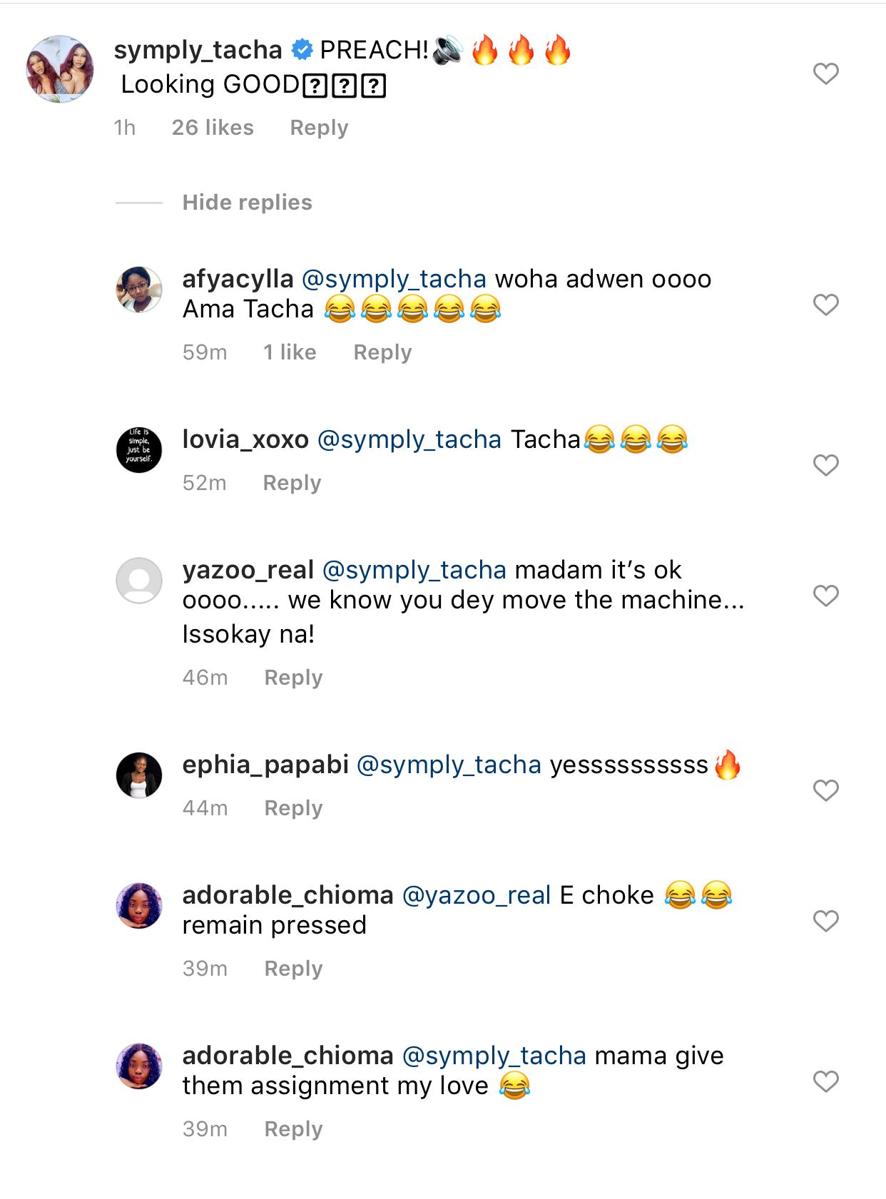 Popular Big Brother Naija star, Natacha Akide, largely known by her nickname Tacha, has caused series of rants and reactions on social media after she left a comment on the photos shared by her alleged lover, Fadda Dickson.