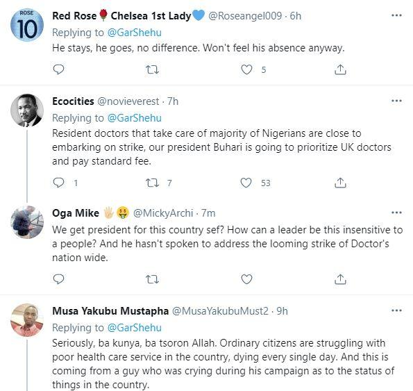 """""""He stays, he goes, no difference"""" - Reactions as President Buhari flies to UK for check-up"""