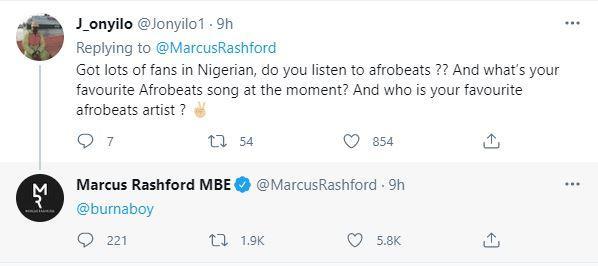 Footballer, Marcus Rashford declares Burna Boy as his favourite Afrobeat singer