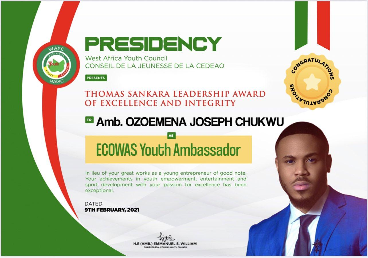 Ozo ECOWAS Youth Ambassador