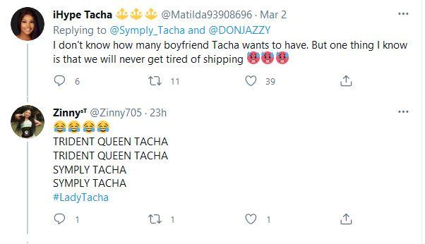 Nigerians react to Tacha shooting her shot at Don Jazzy