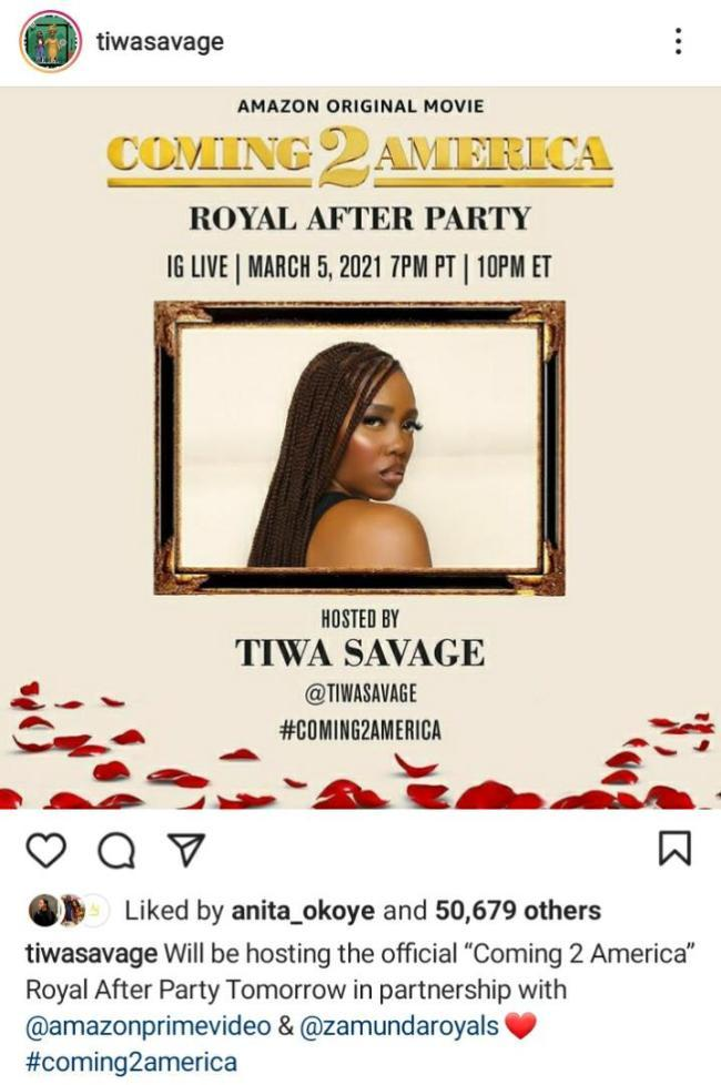 Tiwa Savage to host after party of Hollywood movie 'Coming to America 2'