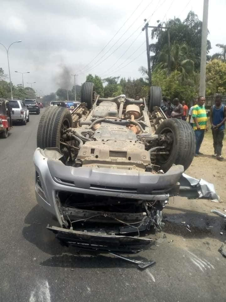 Pastor survives horrible car accident without a scratch in Uyo (Photos)