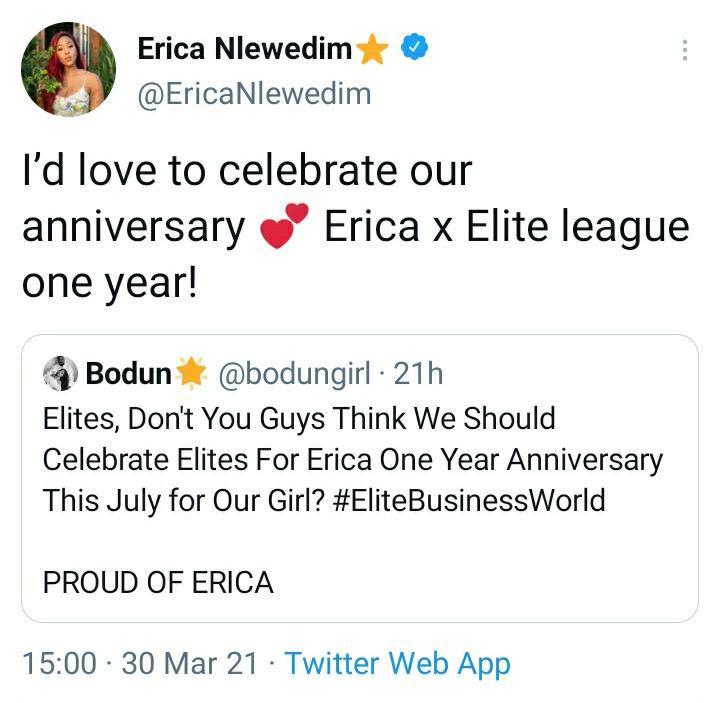Erica Nlewedim to celebrate one year anniversary with fans, Elites