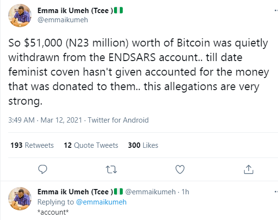 Reactions as Feminist Coalition 'silently' withdraws N23M Bitcoin donated for #EndSARS protest