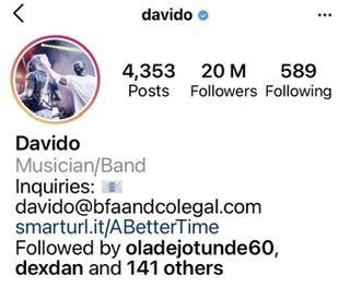 Davido 20 million followers Instagram