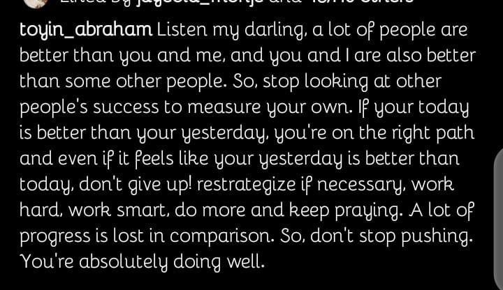 Toyin Abraham success measure