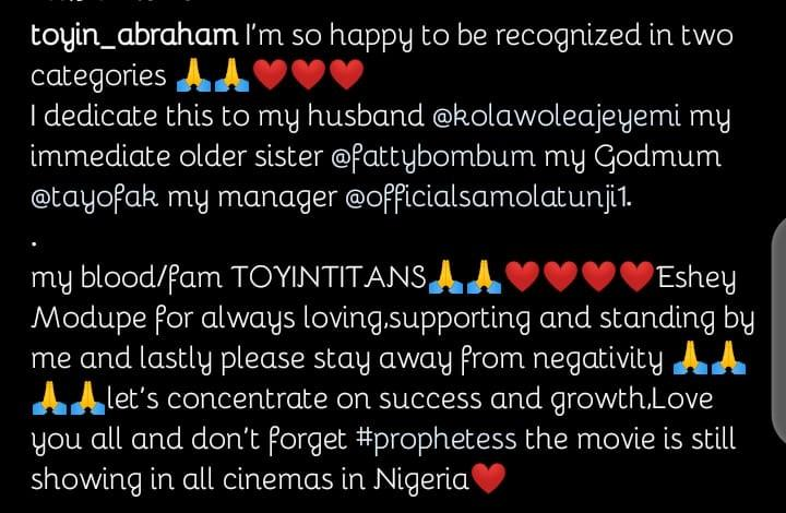 Toyin Abraham congratulations