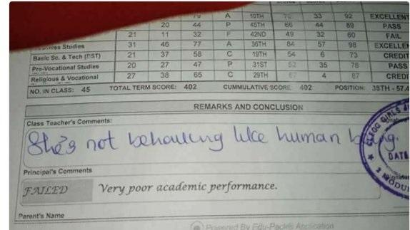 """""""She is not behaving like a human being"""" - Teacher comments on student's report card"""