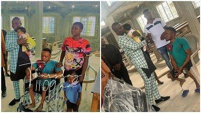 Physically challenged man that dance joyfully on his child's dedication receives wheelchair as gift