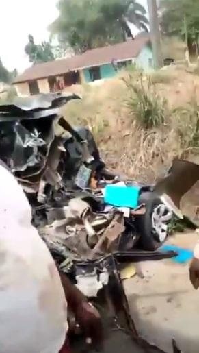 Man gives glory to God after surviving ghastly accident that wrecked his car completely (Video)