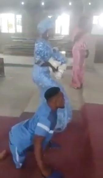 """""""Love is powerful"""" - Reactions as physically challenged man dances to altar with wife (Video)"""
