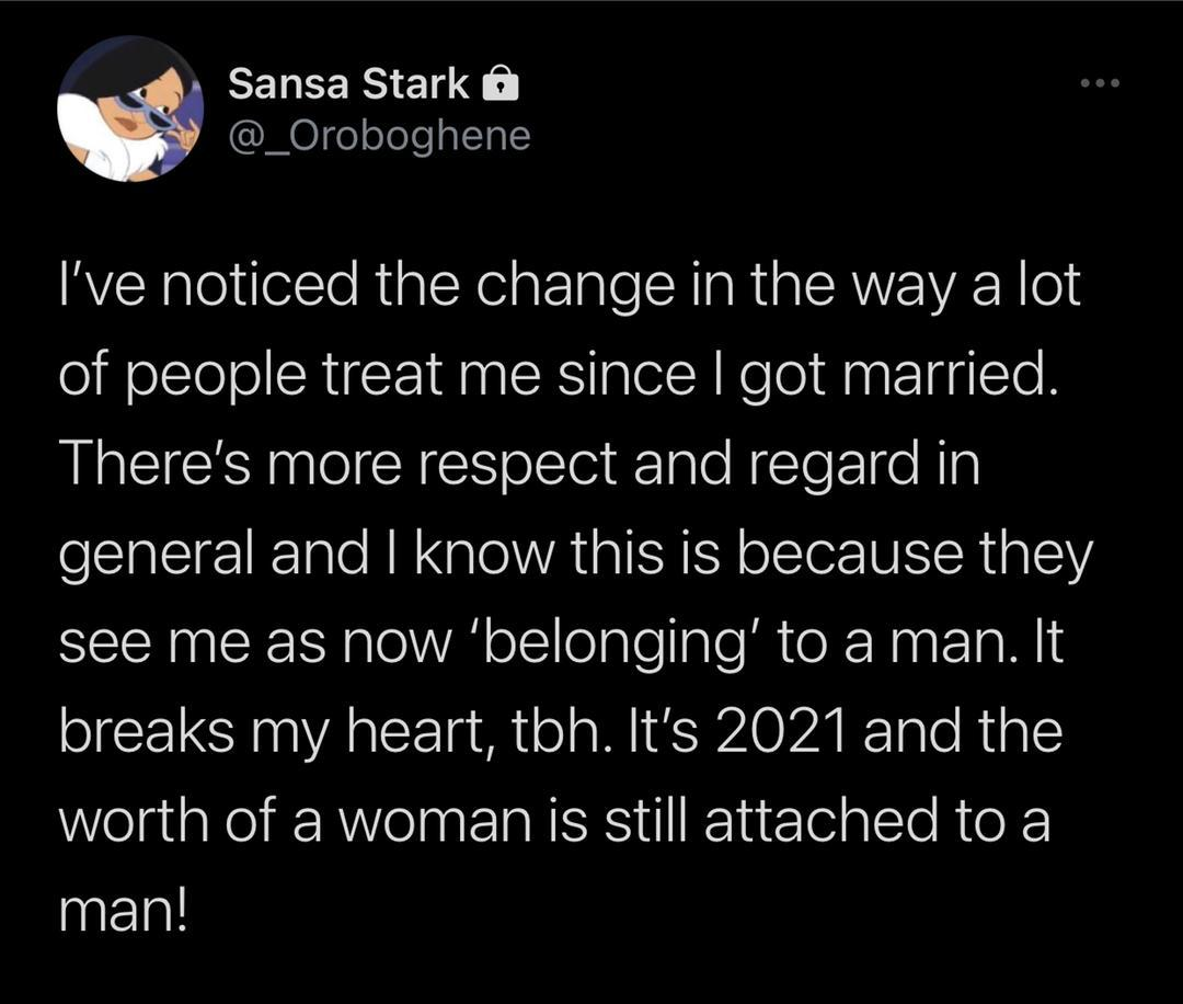 Twitter user Lady respect equality