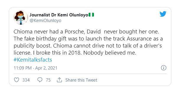 """Davido never bought Chioma a Porsche, it was fake gift"" - Kemi Olunloyo reveals"