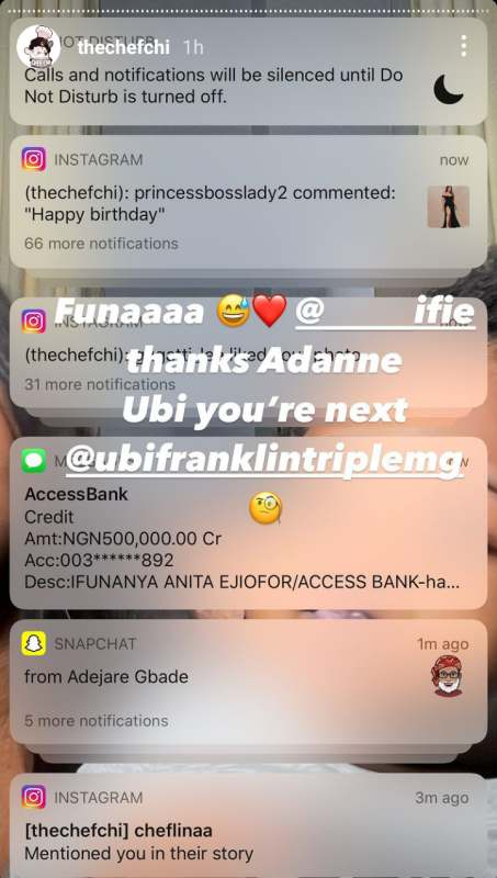Chioma Rowland shows off huge credit alert she received as birthday gift
