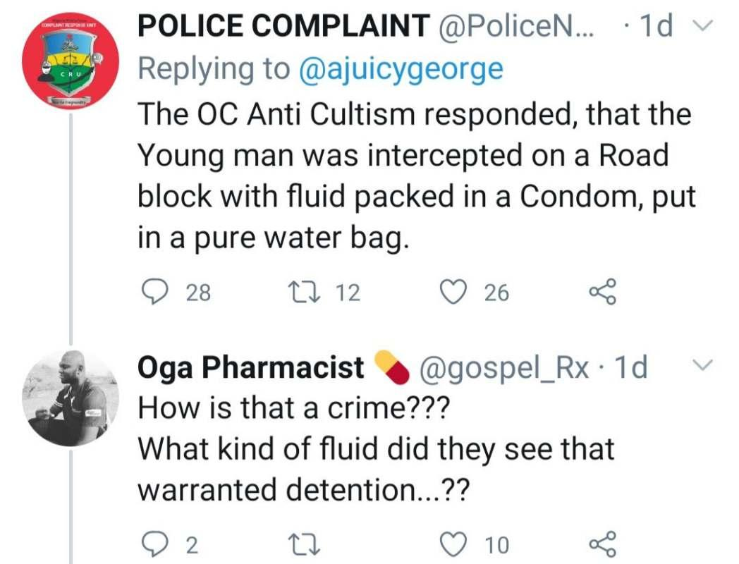 """Was it used for robbery"" - Reactions as Police says man arrested with 'condom' had fluid in it"