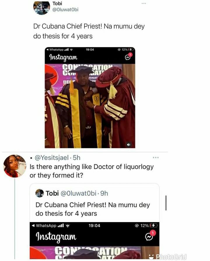 Social media users Cubana Chief Priest Doctorate Degree