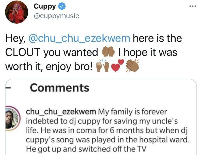DJ Cuppy Song Troll Uncle