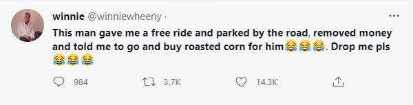 Lady narrates how man who gave her free lift sent her to buy roasted corn