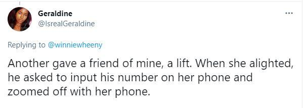 Driver who gave lady free lift takes off with her phone after asking to input his number