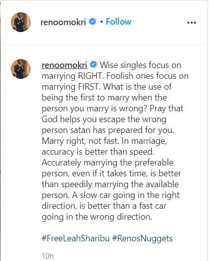 """""""Marry right, not fast to escape the wrong person satan prepared for you"""" - Reno Omokri"""