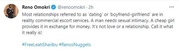 """""""Boyfriend-girlfriend of today is not about love but transaction"""" - Reno Omokri"""