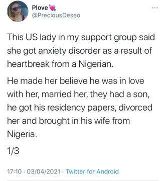 dumped Nigerian US lady