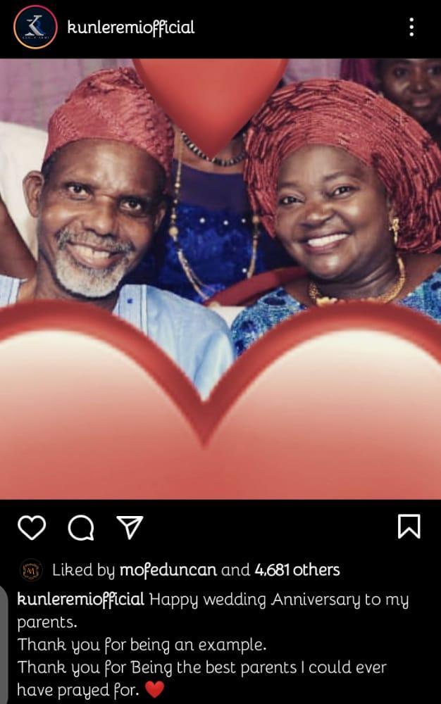Kunle Remi parents anniversary