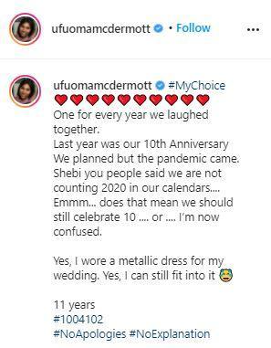 Nollywood actress, Ufuoma McDermott celebrates 11th wedding anniversary