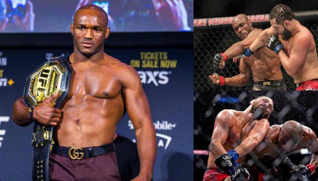 Moment Nigerian martial artist, Kamaru Usman knocked out opponent, Masvidal (Video)