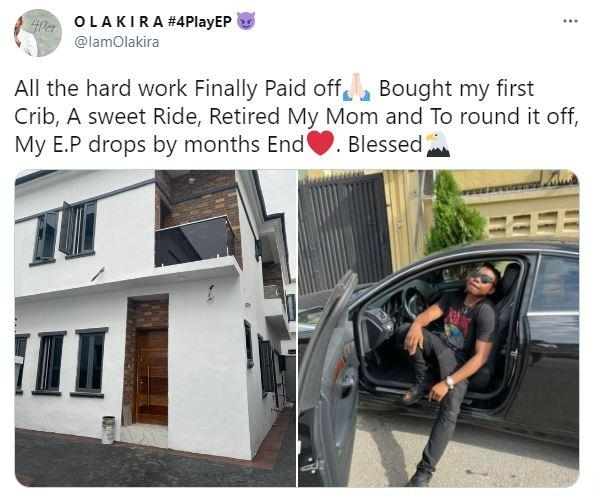 Singer, Olakira rejoices as he buys first house, new car, and retires his mother