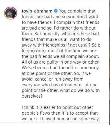 """""""We are the bad friends we all complain about"""" - Toyin Abraham educates on friendship"""
