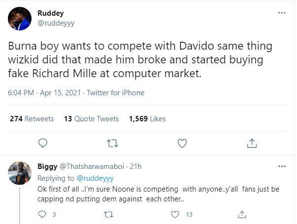 """Burna Boy's competition with Davido will make him broke same way Wizkid became broke"" - Fan"