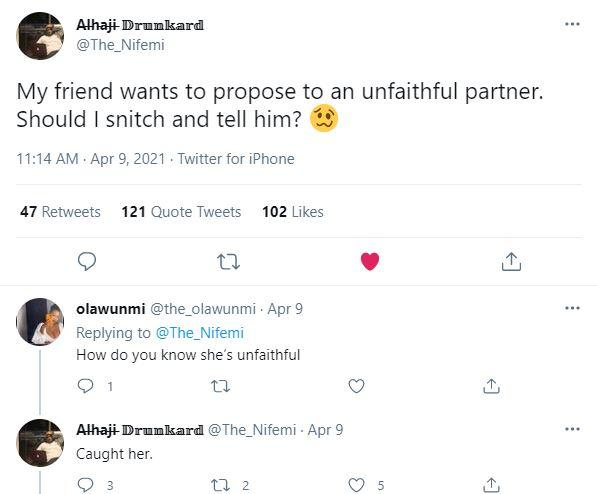 """""""My friend intends to propose to girlfriend that I caught cheating"""" - Man seeks advice"""
