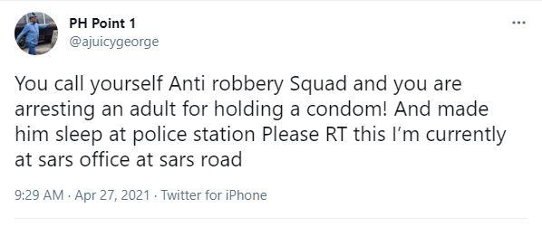 Man cries out after getting arrested by SARS over possession of 'condom'